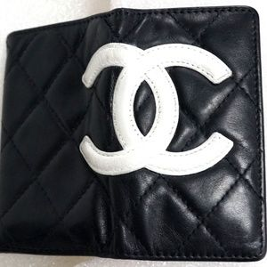 Auth CHANEL Cambon Ligne Quilted Wallet Key Case